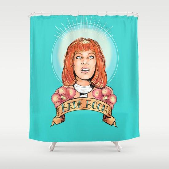 St. Leeloo of the Big Bada Boom Shower Curtain