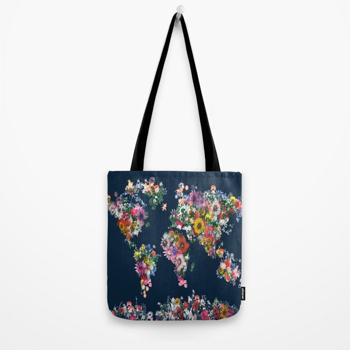 world map floral Tote Bag