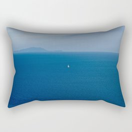 Boat in the blue sea Rectangular Pillow