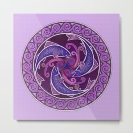 Purple Fish Spiral Celtic Mandala Metal Print