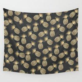 Modern chalk black elegant faux gold pineapple pattern Wall Tapestry