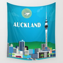 Auckland, New Zealand - Skyline Illustration by Loose Petals Wall Tapestry