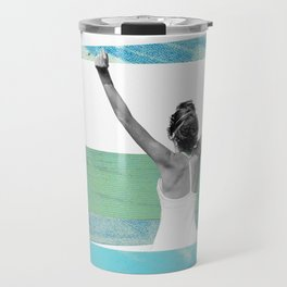 Victory, Woman Collage Art Travel Mug