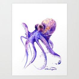 Octopus, purple pink decor Art Print