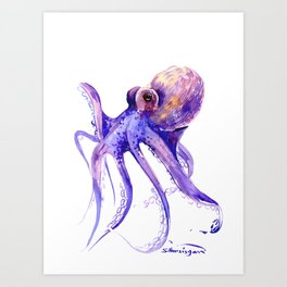 Octopus, purple pink decor Art Print