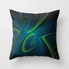 Blue Green Fractal Swirls Throw Pillow