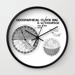 Geographical clock dial Thompson patent art Wall Clock