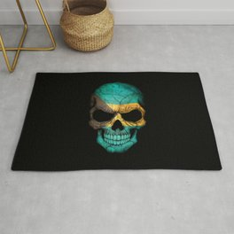 Dark Skull with Flag of Bahamas Rug
