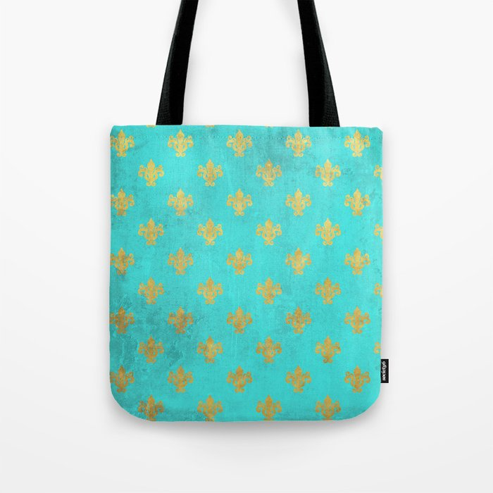 Queenlike on aqua I  Gold Heraldry elements on turquoise background Tote Bag