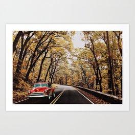 Vintage Car on Skyline Drive Art Print