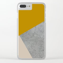 MUSTARD NUDE GRAY GEOMETRIC COLOR BLOCK Clear iPhone Case