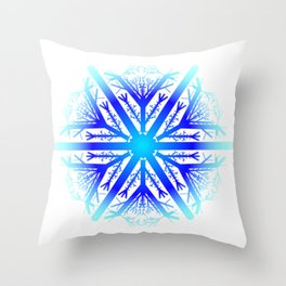 Blue Snowflake Design Throw Pillow