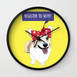 Political Pups - Register To Vote Corgi Dog Wall Clock