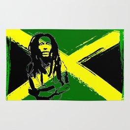 Feeling Rasta - Green - Rastafarian stencil artwork, jamaica flag, reggae music, positive vibration Rug