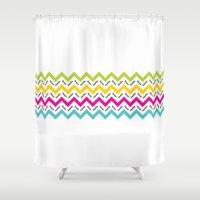 austin Shower Curtains featuring Chevron Austin by Black Oak ATX