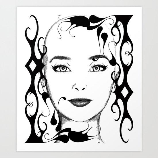 Black and white face ornament Art Print