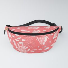 Watercolor Seascape in Red Fanny Pack