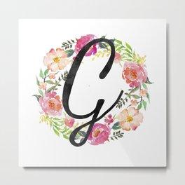 Floral G Monogram Metal Print
