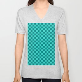 Teal and Turquoise Checkerboard Unisex V-Neck