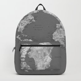 Dark gray watercolor world map with cities Backpack