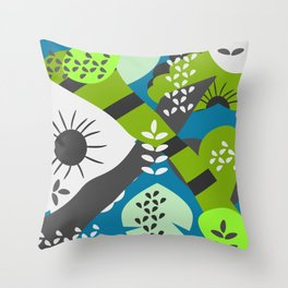 Floral puzzle Throw Pillow