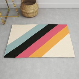 Hariasa - Classic Colorful Abstract Minimal Retro 70s Style Stripes Design Rug