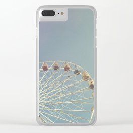 Ferris wheel against a blue sky with vintage film simulation Clear iPhone Case