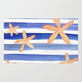 Starfish on blue stripes watercolor design Rug