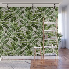 Palms on Square Shingles Pattern - Grey White Gold Wall Mural