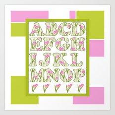 Children's alphabet . A colorful pattern for children .  № 1 Art Print