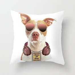 Cool music dog with Access All Areas Throw Pillow