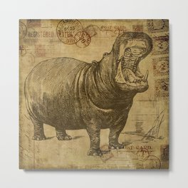 Vintage retro Hippo wildlife animal africa Metal Print