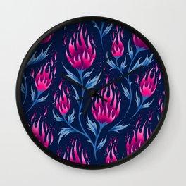 Fire Flower - Dark Pink Wall Clock