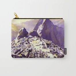 Fine art watercolor painting of view from Hut of the Caretaker of ruined Incan city of Machu Picchu Carry-All Pouch