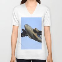 aviation V-neck T-shirts featuring C-17 Globemaster Aviation USAF Take Off by Aviator