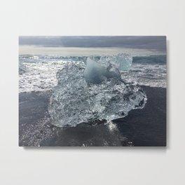 Icebergs on Black Sand Beach in Iceland Metal Print