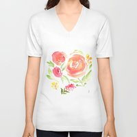 peonies V-neck T-shirts featuring Peonies by Dea Brazil