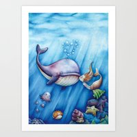 Deep Blue kiss Art Print