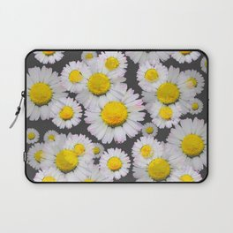 CHARCOAL GREY GARDEN OF SHASTA DAISY FLOWERS Laptop Sleeve