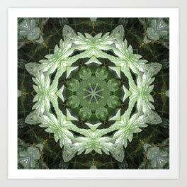Tropical Twist - Green Leaves Kaleidoscope, Mandala Art Print