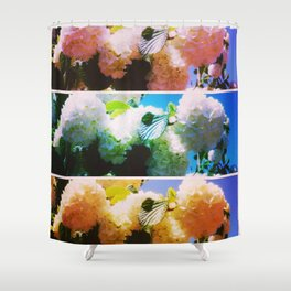 Bright Snowball Branch Collage (III) Shower Curtain