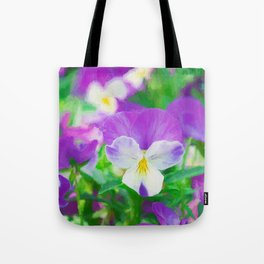 purple pansy in late spring Tote Bag
