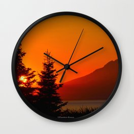 Orange Sky - Mt. Redoubt Wall Clock