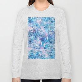 Mermaid blue turquoise watercolor boho dreamcatcher floral pattern Long Sleeve T-shirt