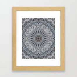 Mandala in silver and grey tones Framed Art Print
