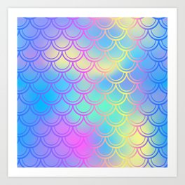 Blue Yellow Mermaid Tail Abstraction Art Print