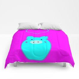 Blue Pig in Love Comforters