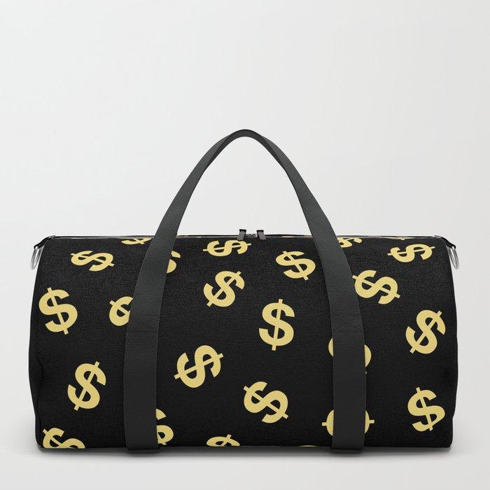 Dollar Signs Black Gold Duffle Bag