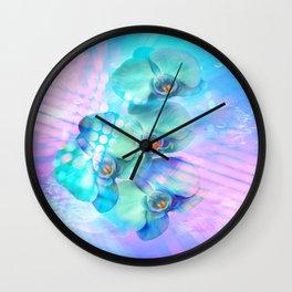 Orchidee in blau - Orchid in blue Wall Clock