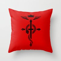 fullmetal alchemist Throw Pillows featuring Fullmetal Alchemist Flamel - Black by R-evolution GFX